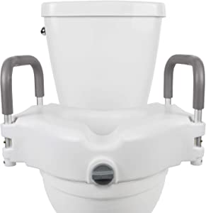 """Vive Raised Toilet Seat - 5"""" Portable, Elevated Riser with Padded Handles - Elongated and Standard Fit Commode Lifter - Bathroom Safety Extender Assists Disabled, Elderly, Seniors, Handicapped"""