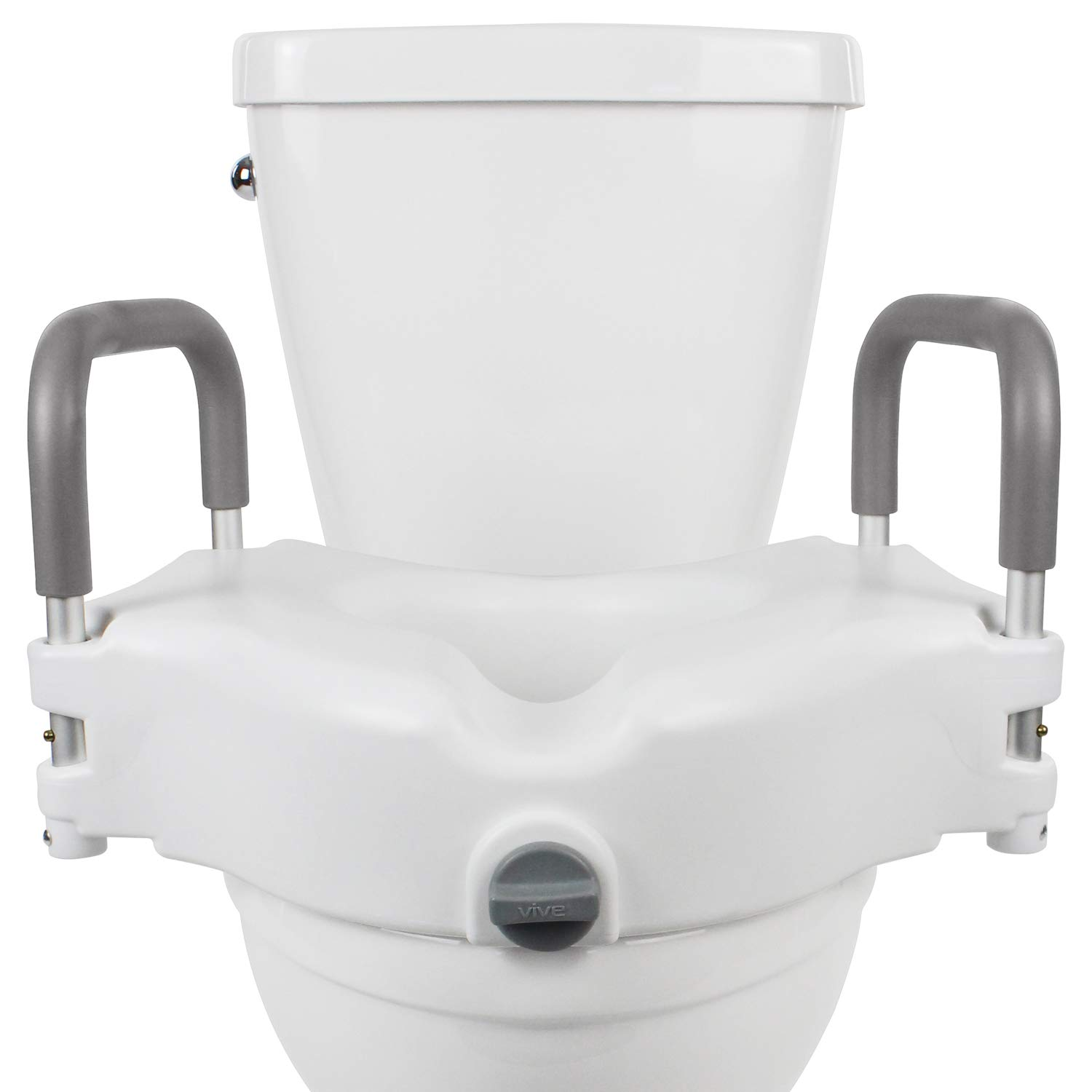 Vive Raised Toilet Seat - 5'' Portable, Elevated Riser with Padded Handles - Elongated and Standard Fit Commode Lifter - Bathroom Safety Extender Assists Disabled, Elderly, Seniors, Handicapped by Vive