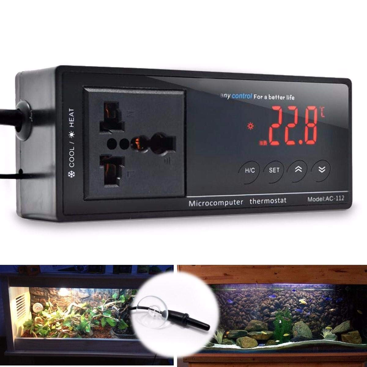 220V Digital Thermostat Temperature Controller Socket for Reptile Aquarium Tank by Unknown (Image #2)