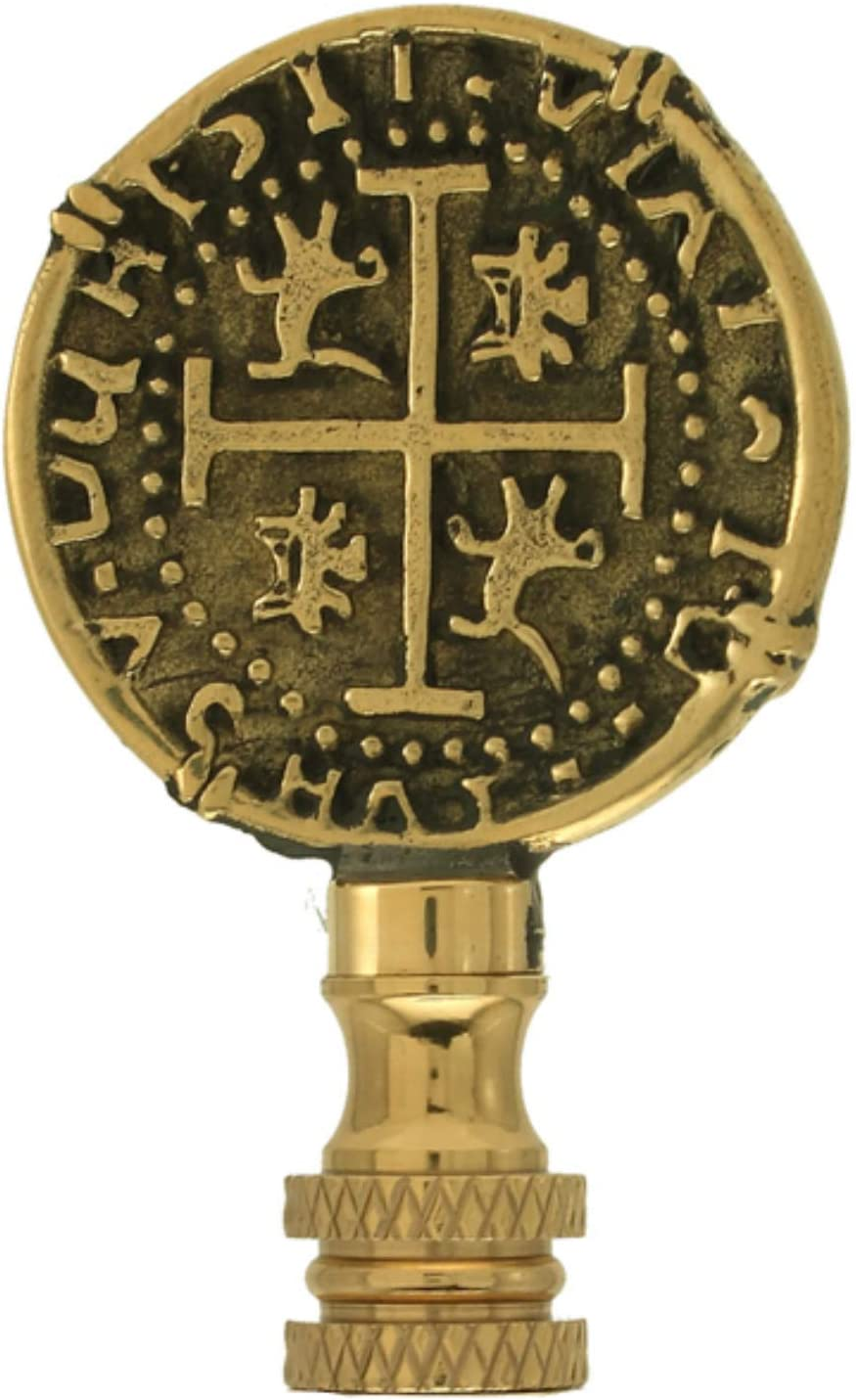 Brass Pirate Doubloon Coin Finial Nauitical Lamp Shade Topper Lampshade Screw Dubloon Sea Beach Ocean