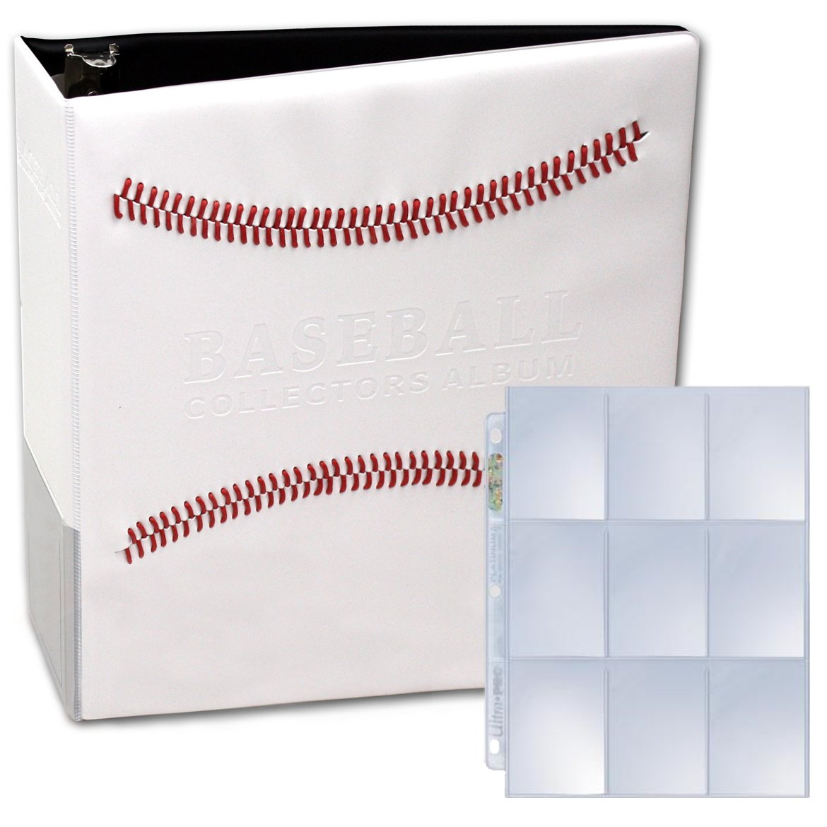 White Stitched Baseball Card Collectors Album with 25 Premium Ultra Pro 9 Pocket Pages Included (3'' D-Ring Binder w/25 Pages) by ACS Pacific Supply