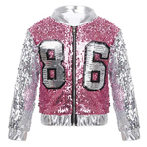 ACSUSS Kids Boys Girls Jazz Hip-hop Dance Performance Costumes Sequin Lightweight Long Sleeve Front Zipper Bomber Jacket Silver&Rose 5-6