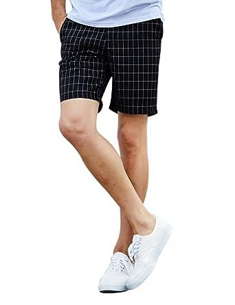 Feicuan Chino Short Homme Casual Tout Droit Pantalon Court Rayures à  Carreaux Classique Outdoor Demi- 53171d37131