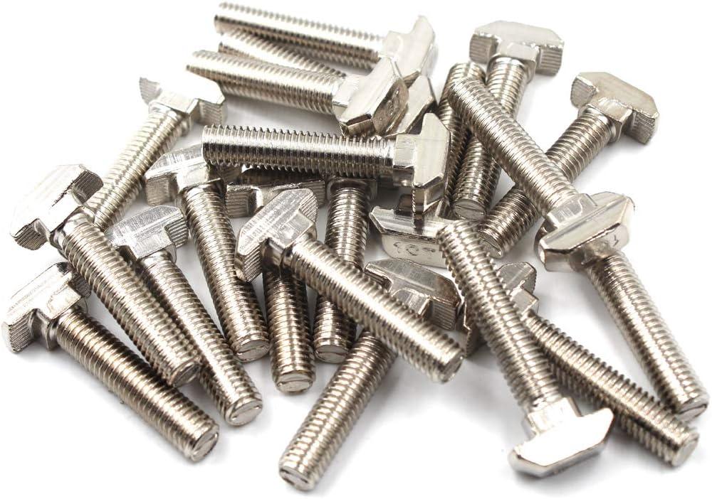 paquete de 20 4545 M8X20 Tornillo en T Juego de tornillos Tornillo Herramienta de fijaci/ón para acero de carbono extruido de aluminio ranurado en T
