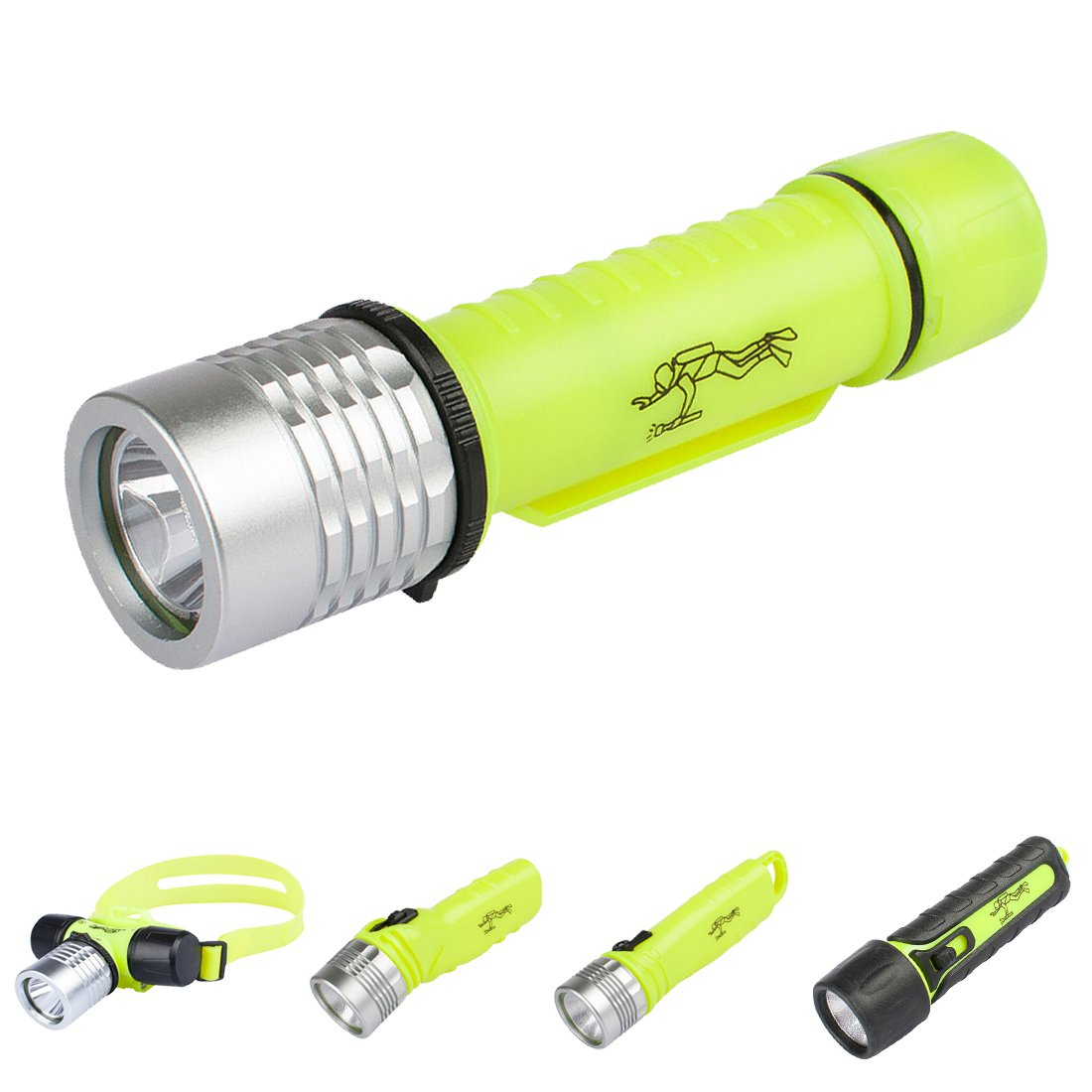 Three trees Underwater Diving Flashlight,3W 110 Lumens Waterproof LED Light,Slide Switch Safety Waterroof Underwater Buckle Flashlight,For Scuba Diving Outdoor Under Water Sports