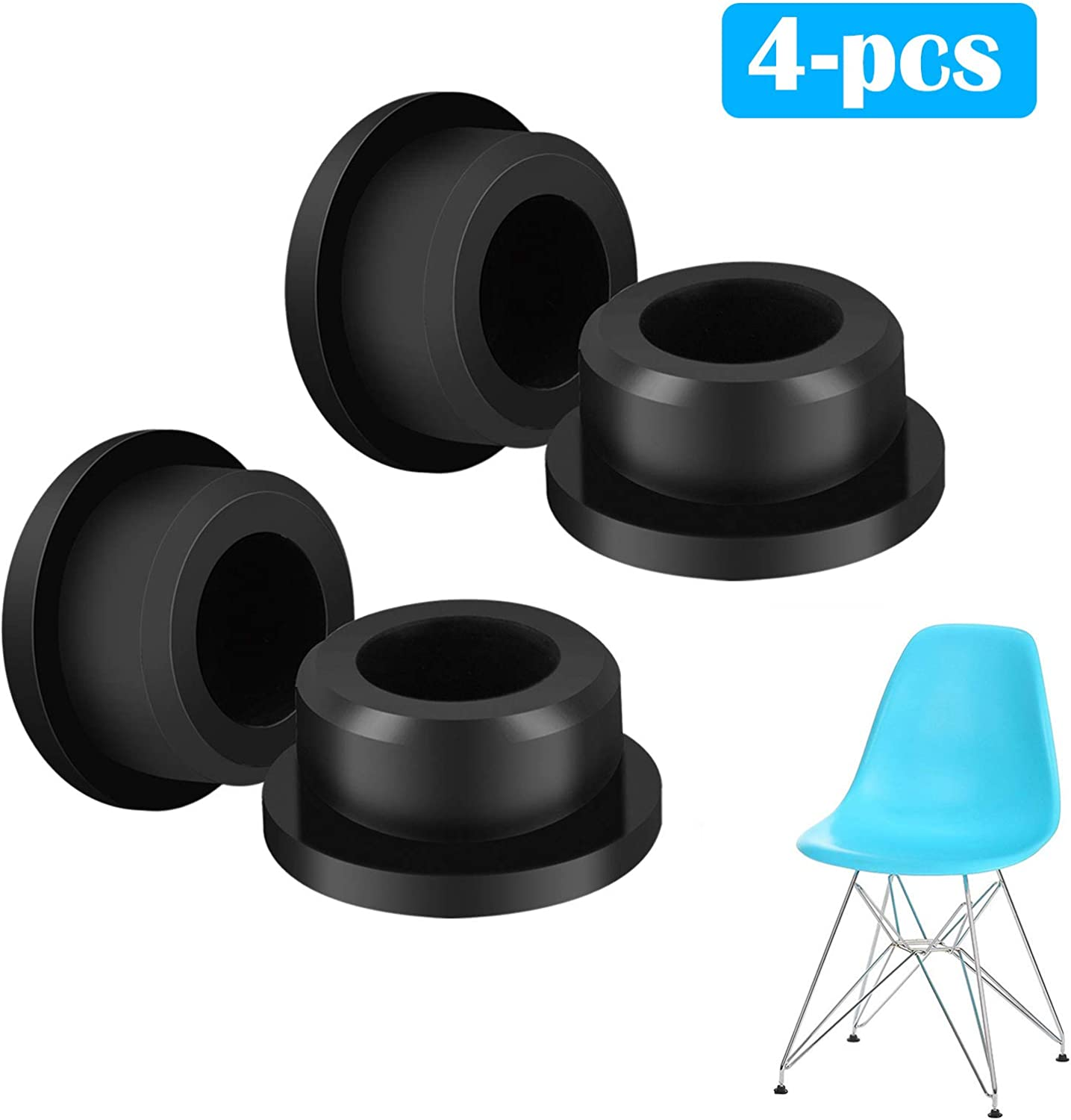 EEEKit Chair Foot Protector, 8-Pack Chair Glides Replacements for Eames  Eiffel Style Chair Leg Cover Furniture Feet Black