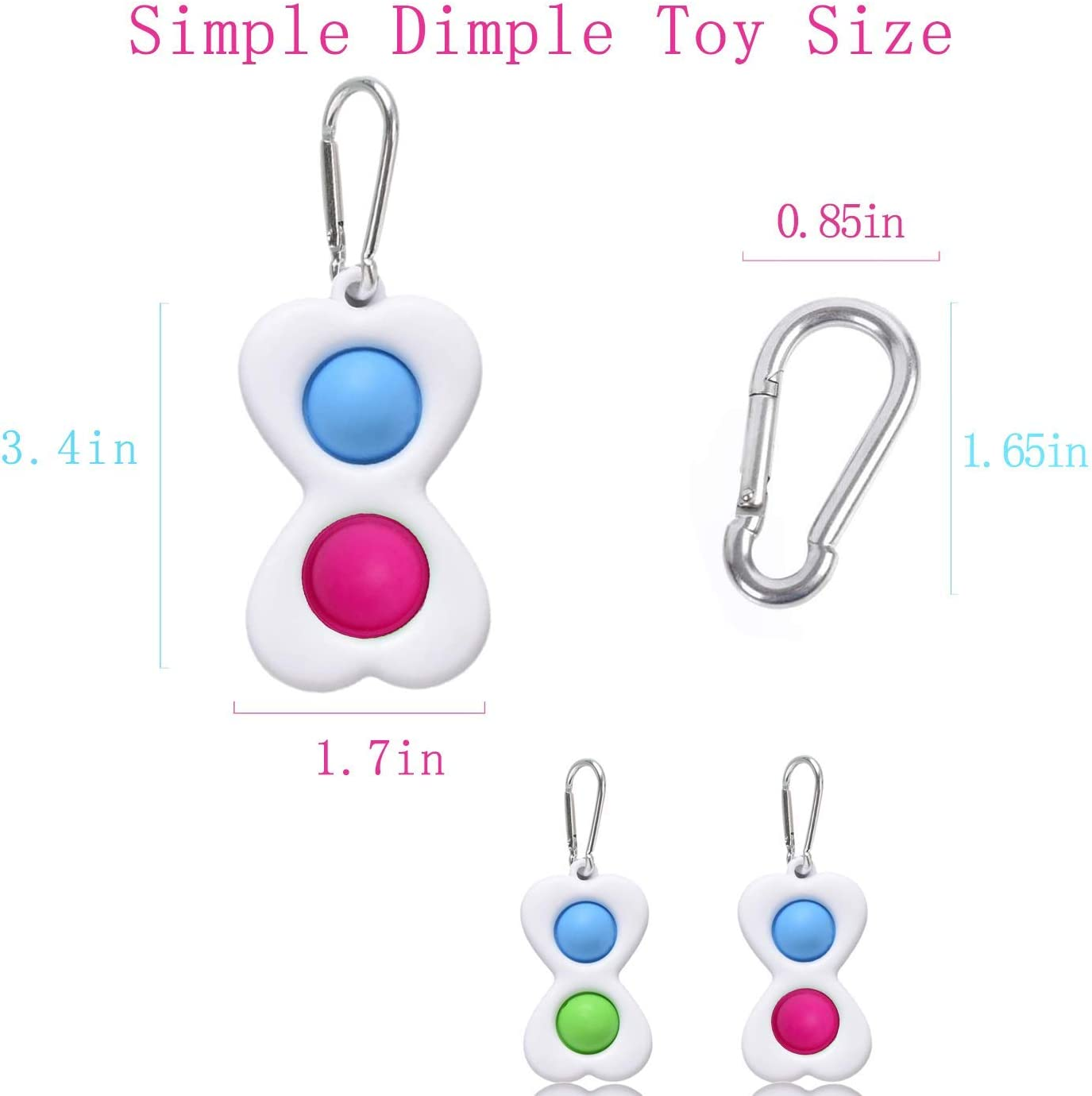 2Pack Simple Dimple Fidget Popper Simple Dimple Fidget Toy Stress Relief for Adults and Kids Heart-Shaped Fidget Toy with Key Chain