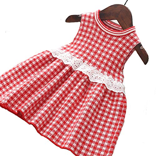 (Moonnut Little Girls Sweater Dress with Plaid Pattern Sleeveless Party Sundress for 1-5 Years Baby Toddler (18-24months, Red))