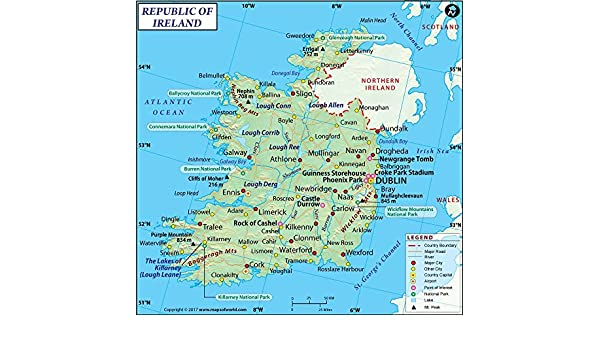 Amazon Com Ireland Map 36 W X 34 75 H Office Products