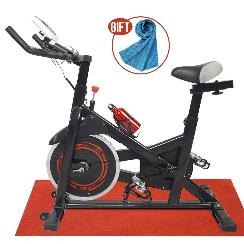 Apelila Spinning Bike Exercise Stationary,Health Fitness Indoor Cardio Cycling Bicycle with LED Screen,Phone Holder,Free Mat & Water Bottle,Gift Towel
