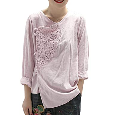 280821995a180 BUYKUD Women Blouses Shirts Solid Crochet Chinese Style Long Sleeve Tops   Amazon.co.uk  Clothing