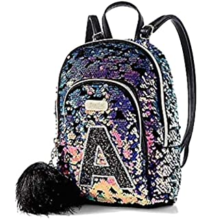 Justice Small Mini Backpack Dark Flip Sequin Initial (Letter K)