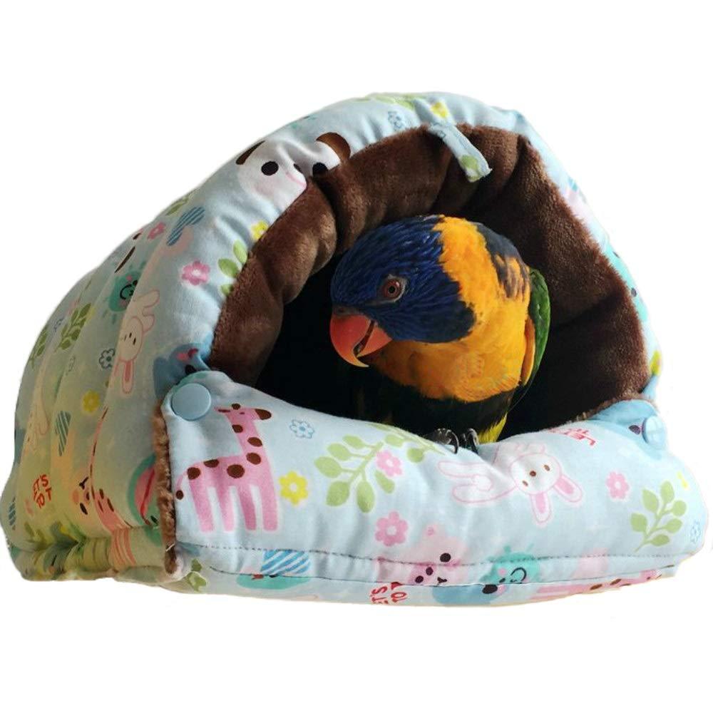 QBLEEV Winter Warm Bird Nest,Parrot Windproof Hut House Hanging Hammock,Plush Fluffy Bird Cage Toy in Winter