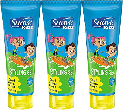 Suave Kids Styling Gel, Cool Ocean Blast, 7 Ounce (Pack of 3)