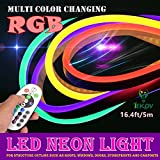 LED NEON LIGHT, IEKOV AC 220V Flexible RGB LED Neon Light Strip, 60 LEDs/M, Waterproof, Multi Color Changing 5050 SMD LED Rope Light + Remote Controller for Home Decoration (16.4ft/5m)