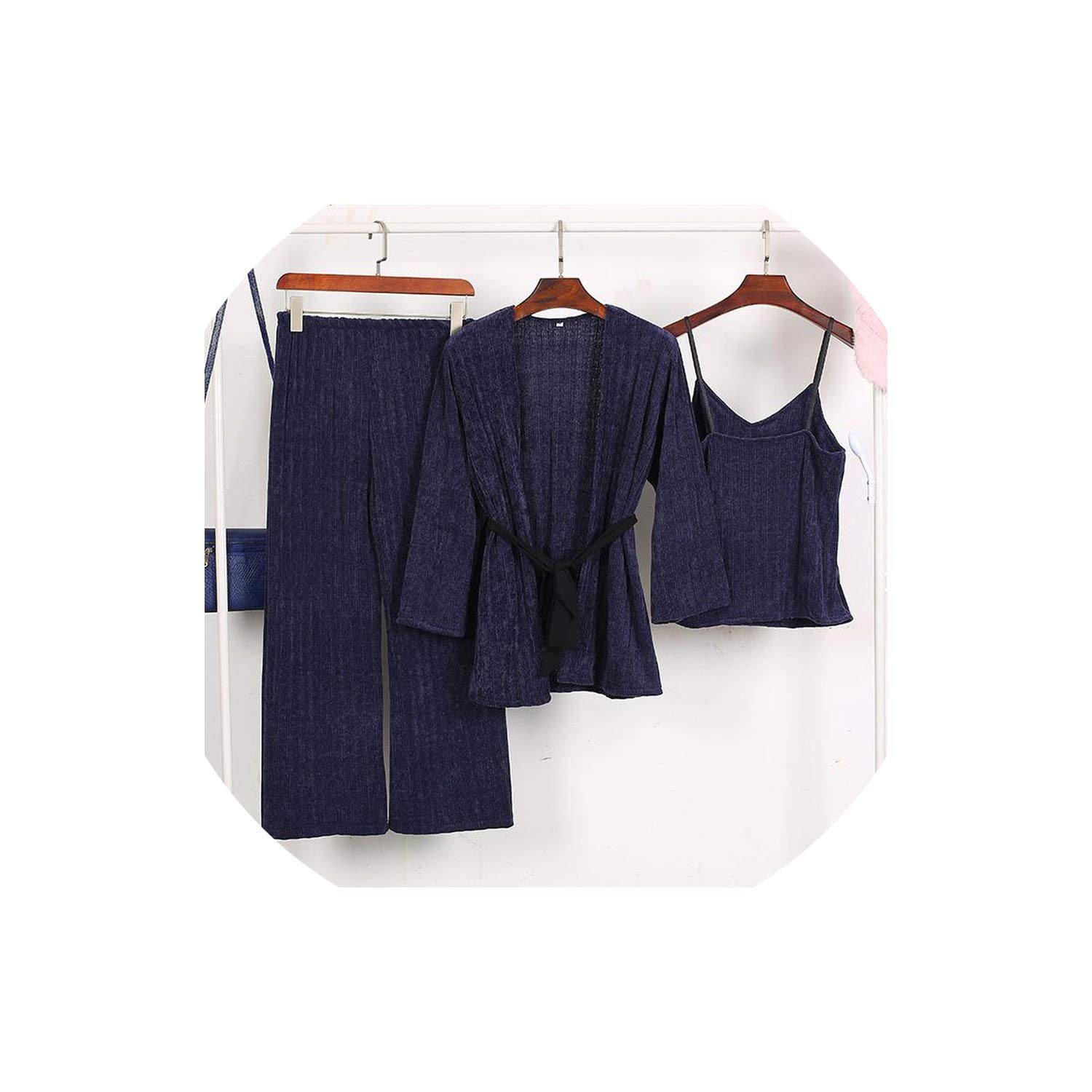 Navy bluee Winter Women Thicken Warm Sleepwear 3 Pieces Female Sexy Solid Long Sleeve Homewear Pajamas Suit