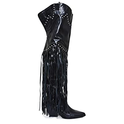 Cape Robbin Montaana Fringe Comfy Over The Knee Thigh High Booties (Medium & Wide Calf)   Boots