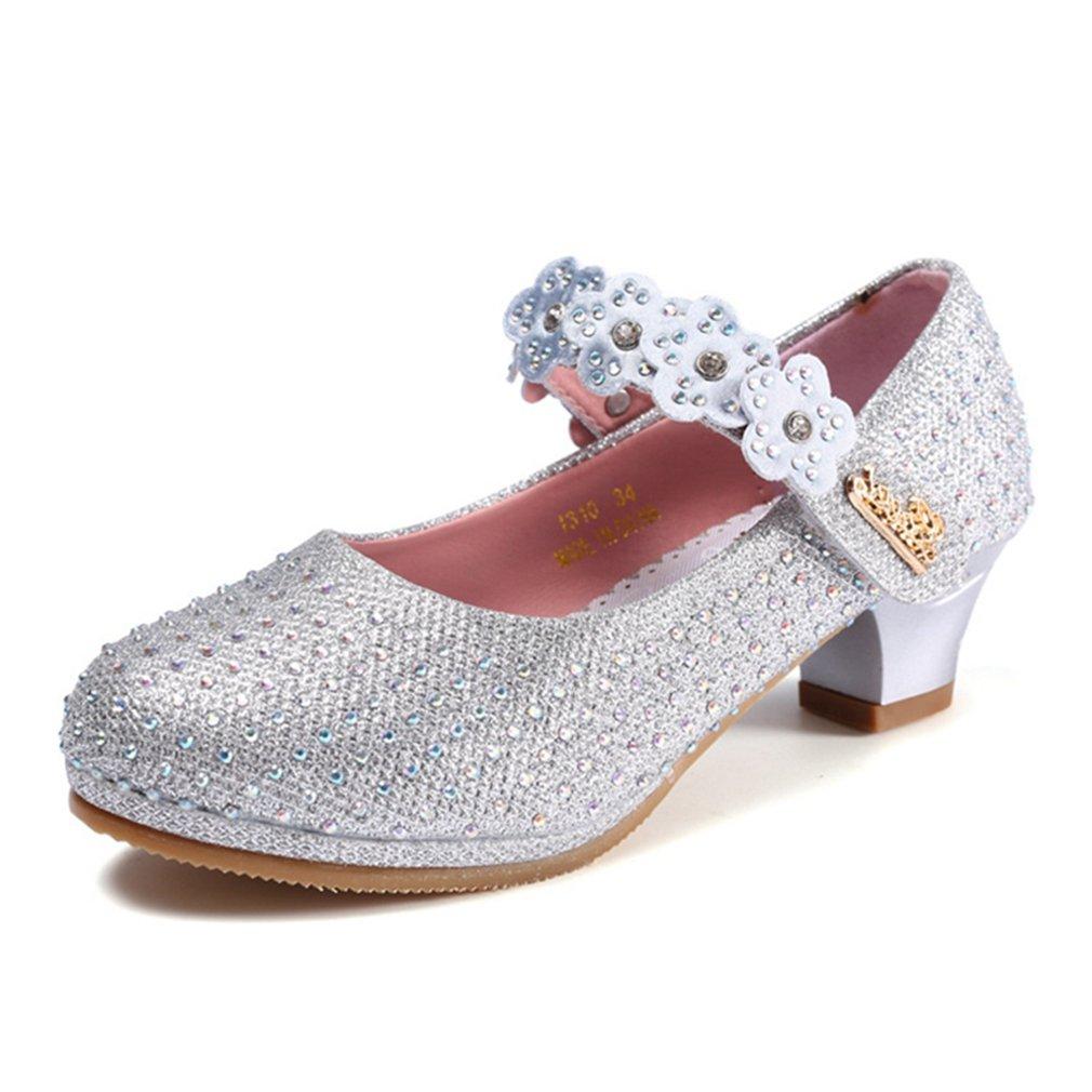 CYBLING Princess Glitter Mary Jane Girls Low Heels Dress Shoes Flower Strap Kid Party Pumps