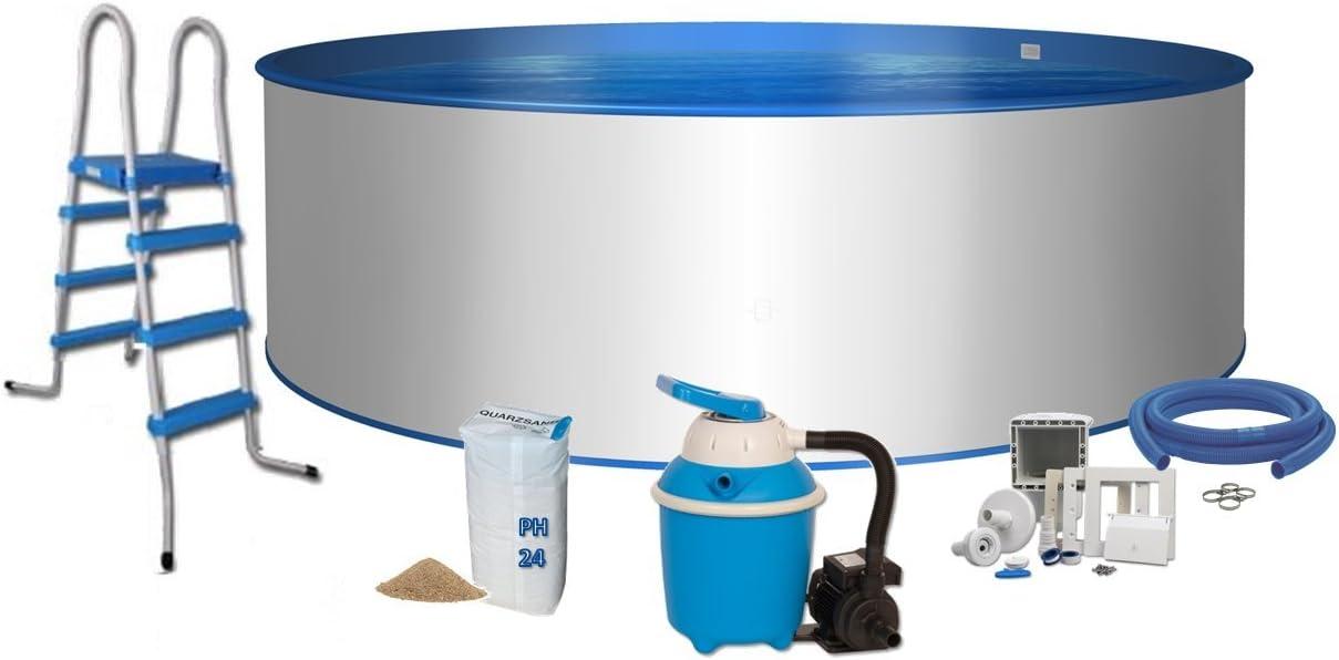Pool comodidad redondo forma Diámetro 4m x 1,2m acero pared 0,6mm Pantalla Azul Acero de 0,6mm Escalera 2x 3peldaños con plataforma filtro de arena Flow 4con 4,0m³/h cuarzo filtro Arena 25kg