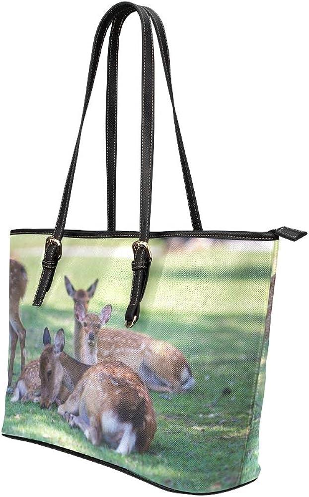 Totes For Girls Wild Deer In Nara Park In Japan Leather Hand Totes Bag Causal Handbags Zipped Shoulder Organizer For Lady Girls Womens Handbag Large