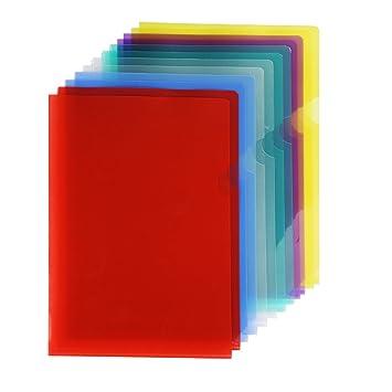 12 Piezas de Carpeta de Archivos de Papel Conjunto de Archivadores de Plástico Tamaño A4 Funda de Carta de Proyecto, 6 Colores: Amazon.es: Hogar
