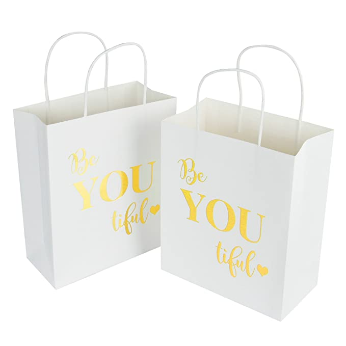 LaRibbons Medium Size Gift Bags - Gold Foil White Paper Bags with Handles for Wedding, Birthday, Baby Shower, Party Favors - 10 Pack - 8