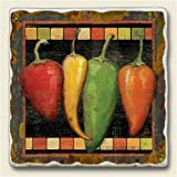 Cantina Chili Peppers Absorbent Tumbled Stone Trivet