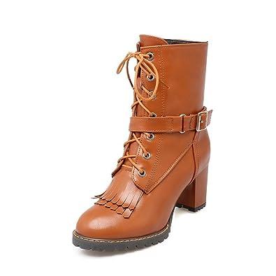 AgooLar Damen Mittler Absatz Reißverschluss Mitte-Spitze PU Stiefel, Rot, 37
