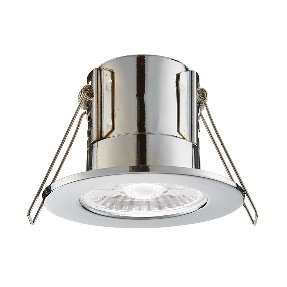 Deluce LED Intumescent Downlight 7W Dimmable 50,000h Warm White Polish Chrome Fire Rated DLBF11 TILY