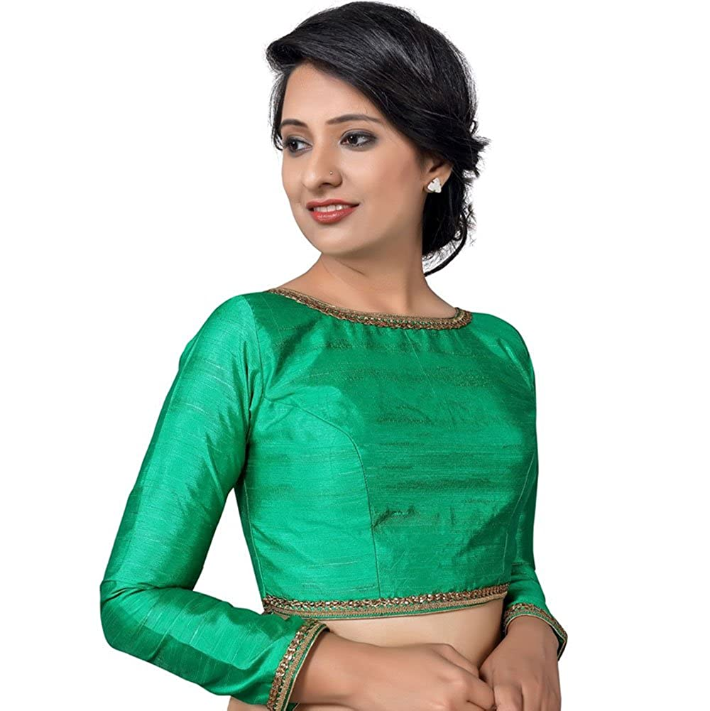 1cfa602487d69 Amazon.com  Bollywood Blouses Women s Readymade Back Open Full Sleeves Raw  Silk Saree Blouse Green  Clothing