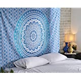 Tapestry Blue Large Indian Mandala Wall Hanging Home Decorative Wall Bohemian Hippy Bedspread Cotton Curtains By Rajrang