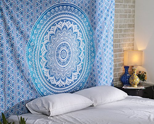 RAJRANG BRINGING RAJASTHAN TO YOU Tapestry Mandala - Twin Wall Hanging Handmade Indian Cotton Wall Decor Hippie Bohemian Decorative Art - Blue - 84 X 54 Inches]()