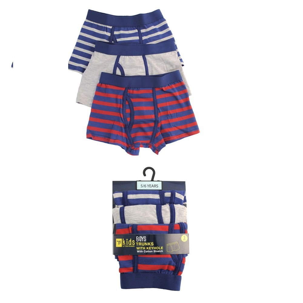 3 Pack Boys Kids Trunks Boxer Shorts Keyhole Cotton Elasticated Waist Underwear-Red (11-12 yrs, Red)