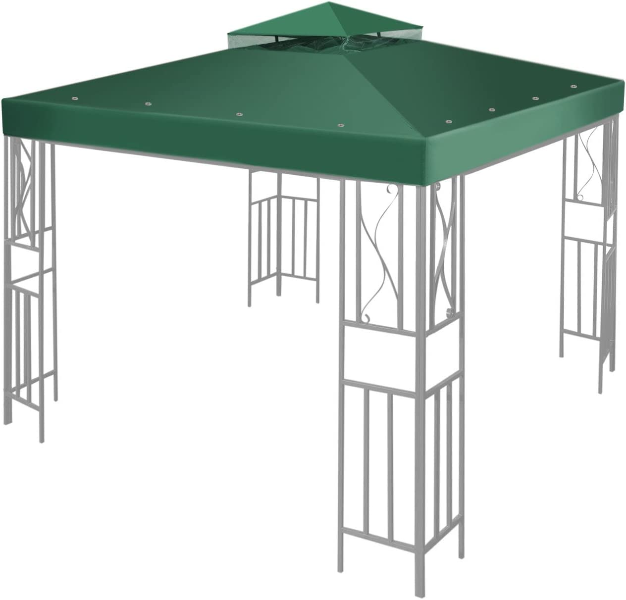 Flexzion 8' x 8' Gazebo Canopy Top Replacement Cover (Green) - Dual Tier Up Tent Accessory with Plain Edge Polyester UV30 Protection Water Resistant for Outdoor Patio Backyard Garden Lawn Sun Shade