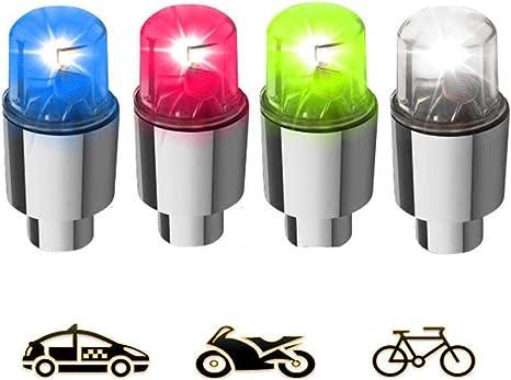 2x Flashing Neon LED Wheel Valve Caps Car Van Bike Motorbike Cycle Bicycle Pair