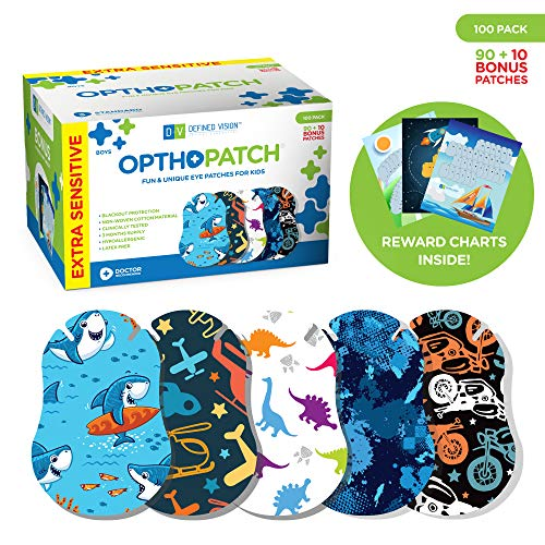 OPTHOPATCH Kids Eye Patches - Fun Boys Design - 90+10 Bonus Latex Free Hypoallergenic Cotton Extra Sensitive Adhesive Bandages for Amblyopia & Cross Eye-3 Reward Chart Posters by Defined Vision