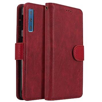 LOKAKA Funda para Samsung Galaxy A7 2018,Magnético Cubierta Plegable,Soporte Plegable, Ranuras para Tarjetas, Adecuada Samsung Galaxy A7 2018 - Rojo