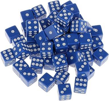 50 Piezas 12mm Dados de 6 Caras Juegos de Mesa de Casino Acrílico TRPG Azul: Amazon.es: Juguetes y juegos