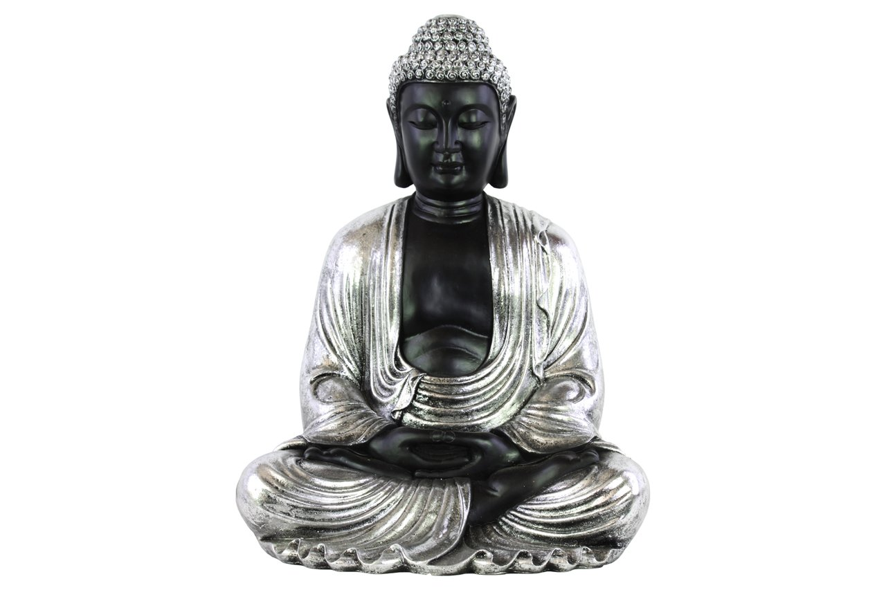 Urban Trends Resin Meditating Buddha Figurine with Rounded Ushnisha in Dhyana Mudra Silver