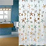 Polyester Fabric Starfish Printing Shower Curtain - 180 x 200 cm