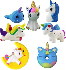 HOT! 7 Pack Jumbo New hot Styles Unicorn Series Horse Whale Donuts Beauty Unicorn Stress Relief Preschool Education Simulation Pu Slow Rising Squishy Toys for Kids
