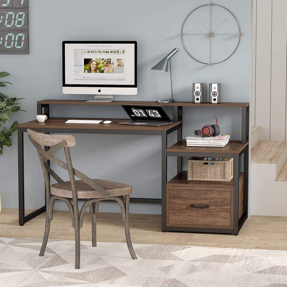 """Details about Tribesigns 33"""" Computer Desk with File Drawer and Storage  Shelves Brand New"""