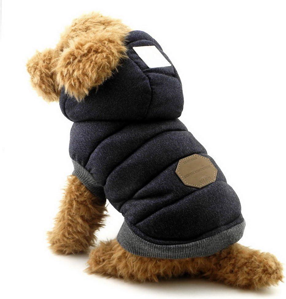 SELMAI Abrigos con Capucha para Perros Pequeños Polar Chaquetas para Perro Mediano Ropa para Gatos Sphynx Grande Mascotas Perritos Chihuahua Caminar Jugar al Aire Libre Prueba de Clima Frío Azul M