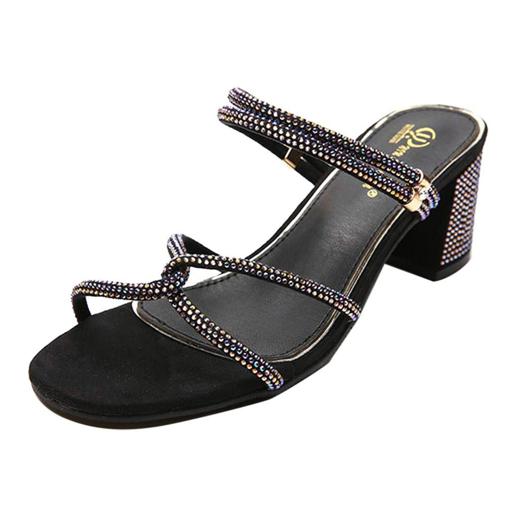 ZOMUSAR New! 2019 Women's Summer Casual Fashion Open Toe Strap Rhinestone Sandals High Heels Shoes Black