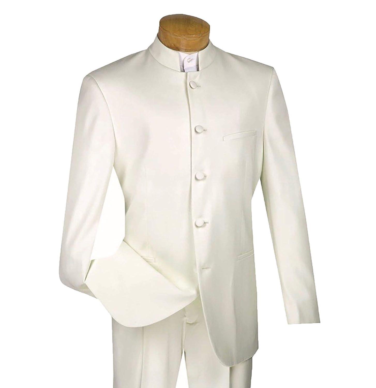 8c9504124 VINCI Men's 5 Button Mandarin Banded Collar Classic-Fit Tuxedo Suit Ivory |  Size: 56 Long / 52 Waist at Amazon Men's Clothing store: