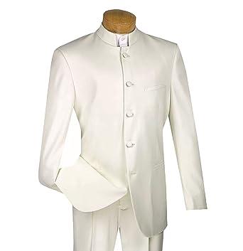b916091ea VINCI Men's 5 Button Mandarin Banded Collar Classic-Fit Tuxedo Suit Ivory |  Size: