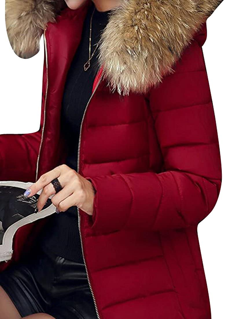 SYTX Womens Faux Fur Hooded Winter Warm Short Down Quilted Jacket Coat Outwear