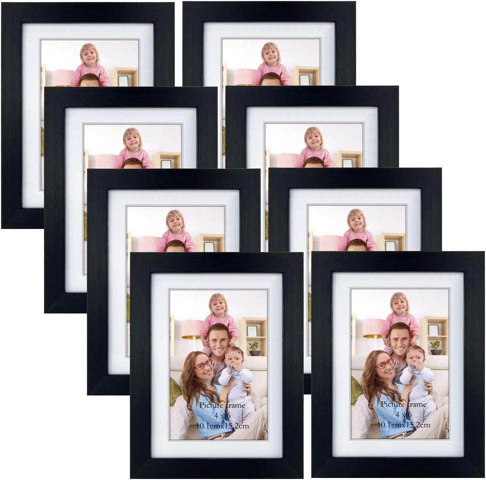 Amazon Com Giftgarden 4x6 Picture Frames Set Of 8 Display 4x6 Pictures With Mat Or 5x7 Without Mat For Wall Decor Or Tabletop Display Black Home Kitchen