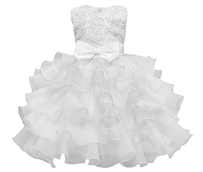 La Vogue Vestido de Princesa para Niña Fiesta Lazo Boda Ceremonia Blanco Talla 110
