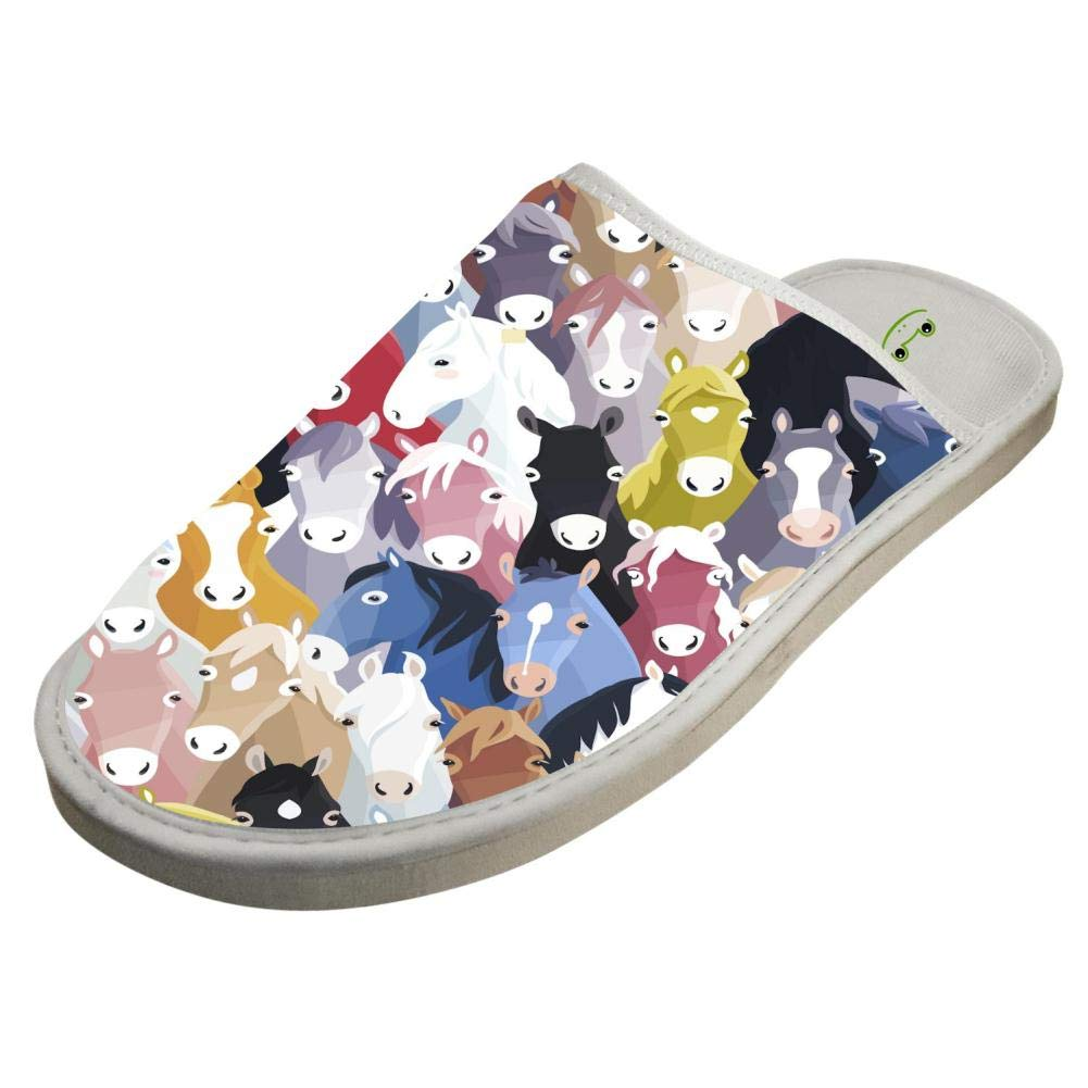Jane-LEE Colorful Horse House Slippers//Cotton Slippers//Flat Shoes//Indoor Slippers